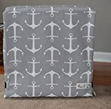 Happy Dog Happy Home Gray Anchors Crate Cover for Dogs (XXL 48x30x33)
