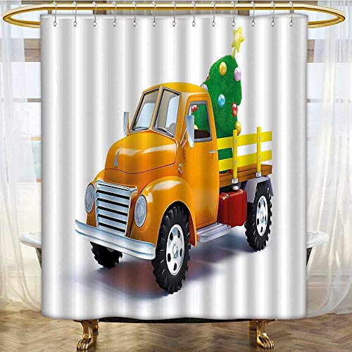 Shower Curtains with Shower Hooks Yellow Truck andated Xmas Tree with Star Topper Motor White Yellow Green Fabric Bathroom Set with Hooks W72 x H78 inch (Tree Kohls Topper)