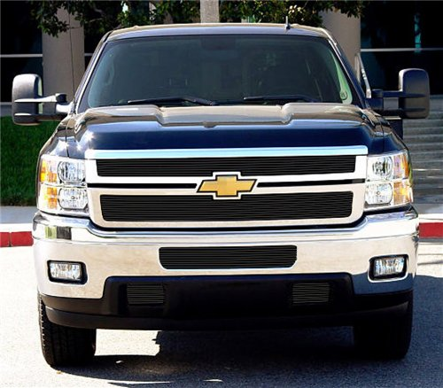 Horizontal Aluminum Black Finish Billet Grille Overlay for Chevrolet Silverado HD (Horizontal Billet Grille)