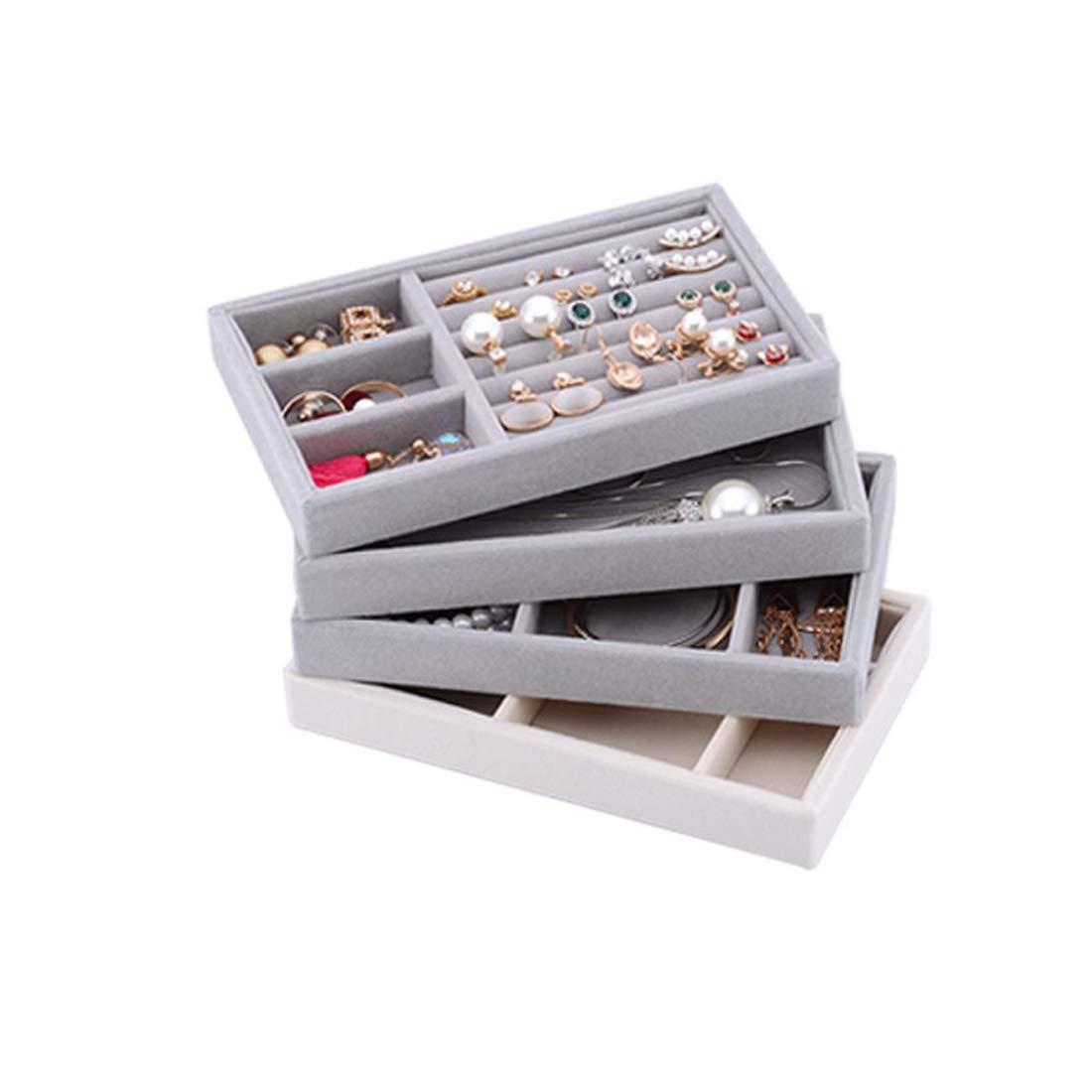 YFLY Ring Jewellery Display Storage Box Tray Show Case Organiser Earring Holder