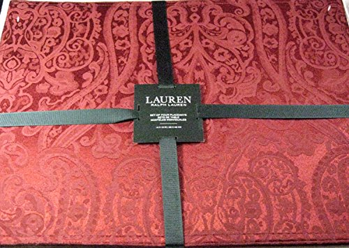 Set of 4 Ralph Lauren Paisley Placemats Red 14