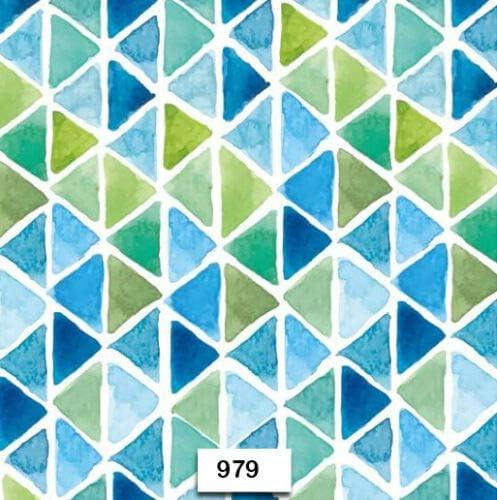 979 Two Individual Paper Luncheon Decoupage Napkins Aqua Triangles Design