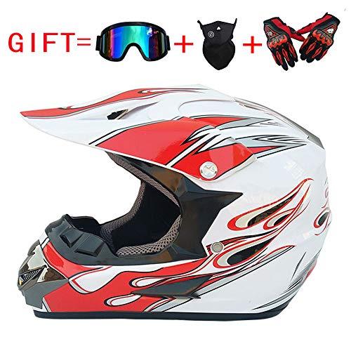 MMGIRLS DOT Certified Motorcycle Full face Helmet Adult Off-Road Helmet Summer Electric car Sunscreen Helmet Distribution Goggles mask Gloves (White red -