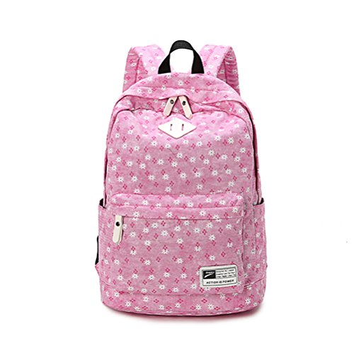 Fresh Brand Design Cute Book Bags High Quality Canvas School Bag Floral Print Backpacks For Women Pink Black Teen