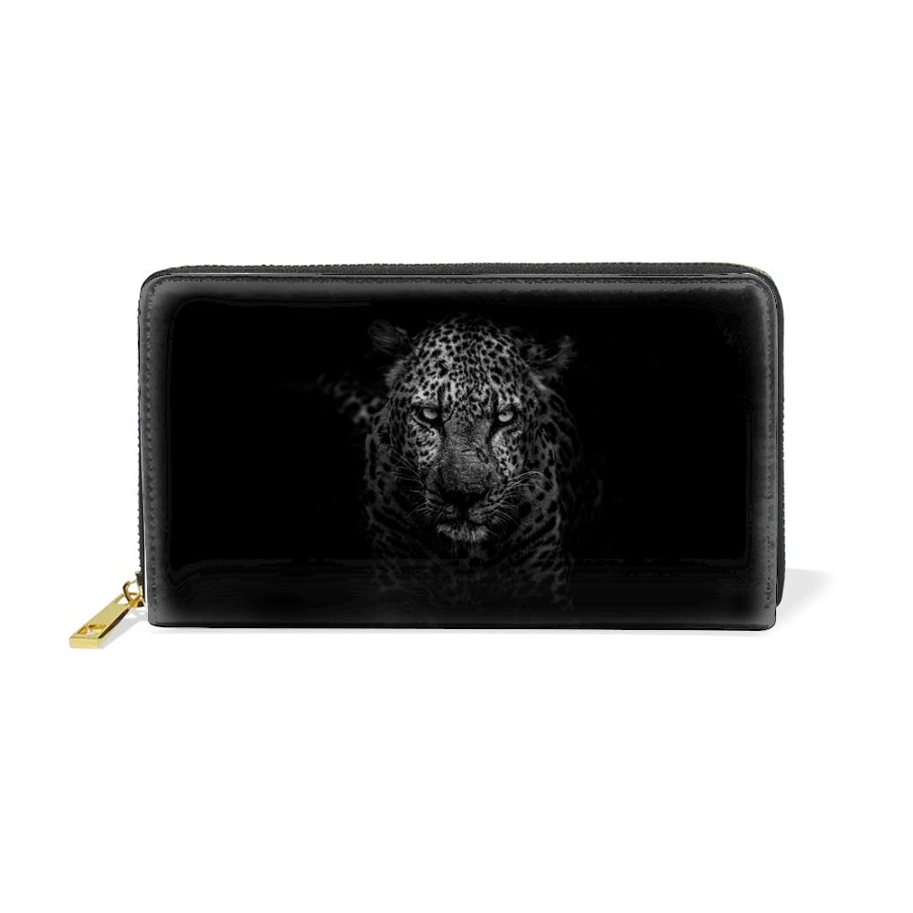 Long Wallet Printed Leather Credit Cards Holder Large Capacity Pouch-Lightning Leopard