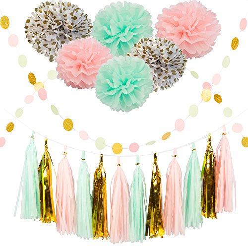 Party Decoration Kit 20 Pcs Mint Peach Glitter Gold Tissue Paper Pom Poms Flower Tissue Paper Hanging Tassels Polka Dot Paper Garlands for Baby Shower Wedding Nursery Bridal (Store Decorations)