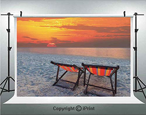 (Seaside Decor Photography Backdrops Couples Chairs on Sandy Beach with Colorful Sky Scenery Seaside Nature Picture,Birthday Party Background Customized Microfiber Photo Studio Props,7x5ft,Orange Red G)