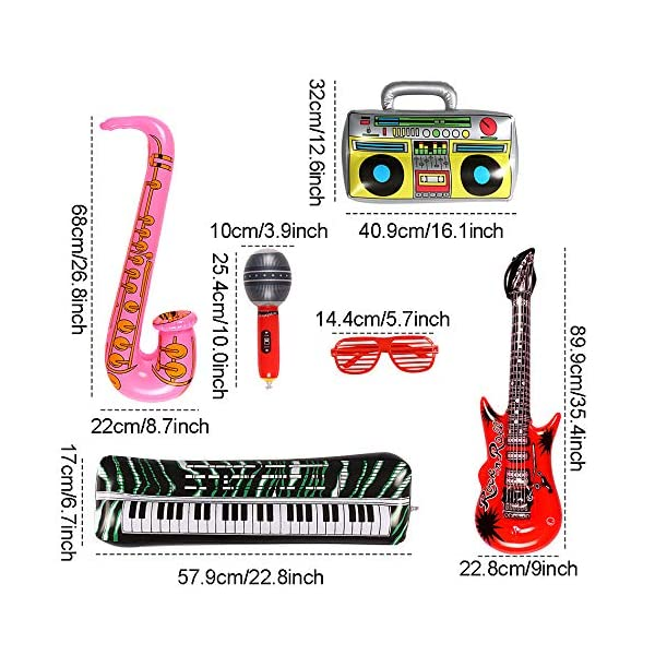 Lewo 22 Pack Chitarra Gonfiabile 6 Chitarre Gonfiabili, 6 Microfoni, 6 Vetri Dell'otturatore, 1 Radio, 1 Piano per Tastiera, 1 Sassofono e 1 Pompa 4 spesavip