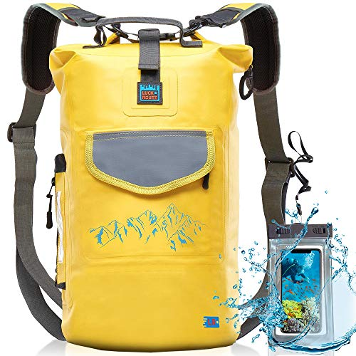 Luck route Waterproof Dry Bag with Backpack Straps and Pockets - Floating DryBag for Beach - Sack for Camera Kayaking Boating or Fishing Yellow 20l