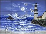 Ceramic Tile Mural - Lighthouse Romance- by Jeff Wilkie - Kitchen backsplash / Bathroom shower