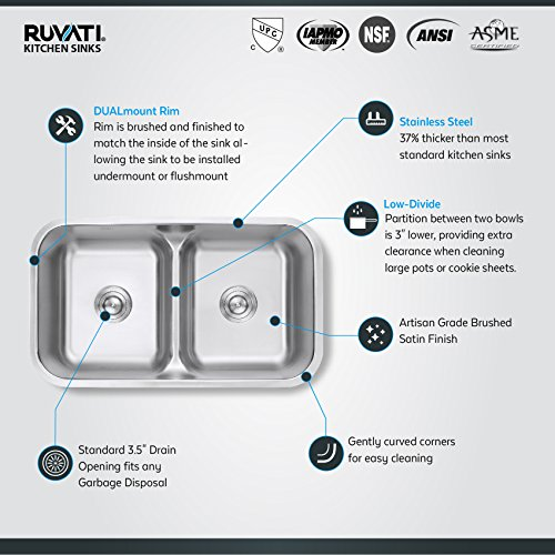 Ruvati Rvm4350 Undermount 32 Low Divide 16 Gauge Kitchen Sink Double Bowl Amazon Com
