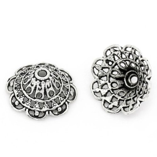 50pc Antique Silver Flower Bead Caps 18mm (Fits 24mm Beads) Beading Supplies -