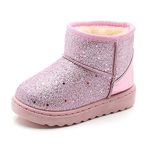 (SOFMUO Boys Girls Plush Hiking Snow Boots Sparkly Waterproof Booties Warm Winter Shoes (Toddler/Little Kid)(Pink,28))