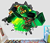 Lego Ninjago Green Lloyd Wall Decal Smashed 3D Sticker Vinyl Decor Mural Kids Movie - Broken Wall - 3D Designs - OP162 (Giant (Wide 50'' x 46'' Height))