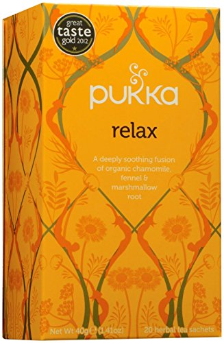 Pukka Organic Herbal Tea - Relax - Chamomile Fennel and Marshmallow Root - 0.8 oz - 20 Count Marshmallow Root Tea
