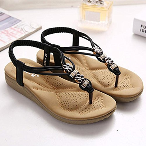 Beach Schuhe VENMO Frauen Bohe Rhinestone Art und Weise flache große Größe Casual Sandals Beach Schuhe Black