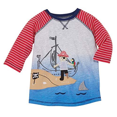 Mud Pie Shark Tank Boy Beach T-Shirt Shortall (Pirate, Medium 2T-3T) ()