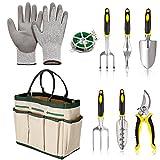 Leoneva 9 Piece Garden Tools Set, Garden Tote w/Pruner Weeder Trowel Cultivator Weeding Fork Transplanter Plant Rope & Gloves