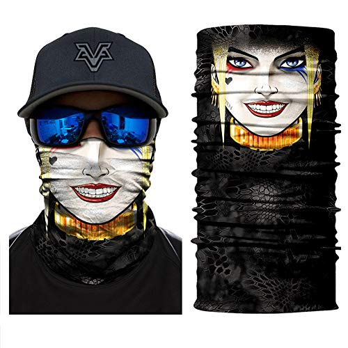 (Cartoon 3D Skull Crown Motorcycle Mask Men Sun Dust Wind Protection Half Face Mask Durable Tube Mask Bandana for Hunting Cycling Tactical)