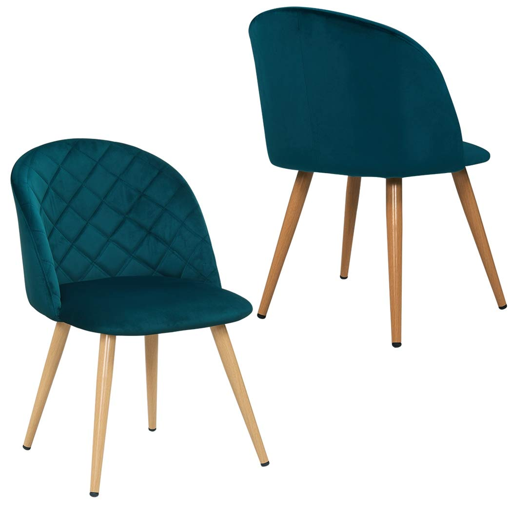 Duhome 2x Dining Chair Fabric (Velvet) Green Padded Chair Retro Design with Metal Legs Colour Selection 8052B
