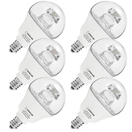 LOHAS LED 40W Globe Light Bulbs G14, Daylight LED Bulb E12 Candelabra Base, Light 5000K Clear Effect Candle Bulb 5W 120V, Not Dimmable 450 Lumens Tiny Bulb for Kitchen Chandelier Dinning Room, 6 Pack (Globe E12 Clear Base Candelabra)