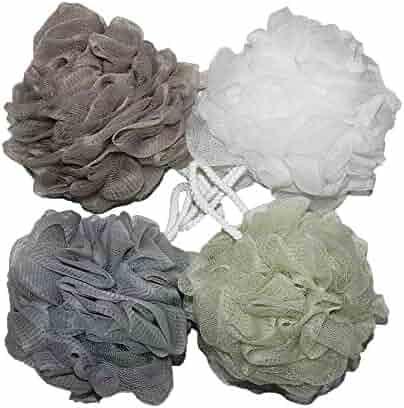 Bath Shower Sponge Pouf Loofahs Mesh Brush Shower Ball, Mesh Bath and Shower Sponge Pack of 4 (60g/pcs)