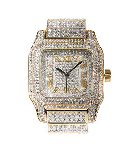 - Mens Hip Hop Bling-ed Out Huge Square Dial Watch with Simulated Diamond Crystals - Two Tone