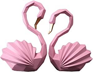 CLSNH Pair of Swan Figurines Home Decor Statues Resin Decorative Sculpture Set of 2 Pacs (1 Big 1 Small)-Pink