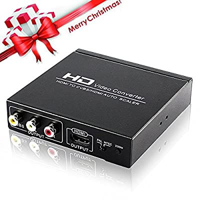 AVENK HDMI to HDMI and AV RCA CVBS Composite Out Video Audio Converter Adapter Support 1080P Zoom In Out PAL NTSC
