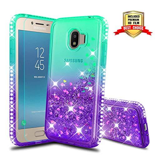 J2 Pro 2018 Case, Galaxy J2 Pro 2018 Girly Cases with HD Screen Protector, Atump Glitter Liquid Diamond TPU Silicone Phone Cover Case for Samsung Galaxy J2 Pro 2018 Green/Purple