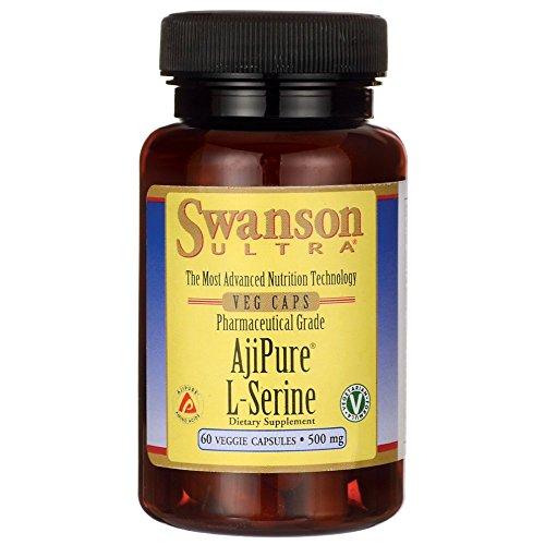 Swanson Ajipure L-Serine Pharmaceutical USP Grade High Purity Amino Acid Dietary Supplement 500 mg 60 Veggie Capsules