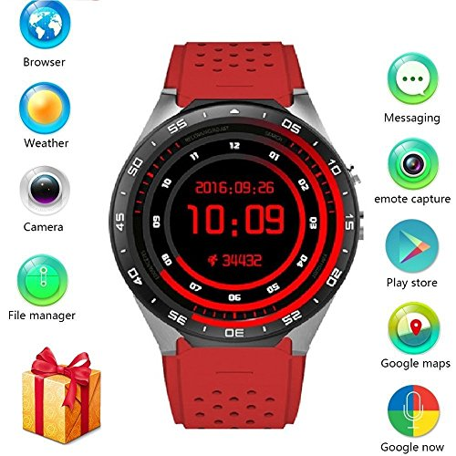 BISOZER KW88 Round Bluetooth Smart Watch Unlocked Android 5.1 Wrist Phone Nano SIM 3G WiFi 2.0MP Camera Touchscreen Smartwatch Call Heart Rate Monitor Pedometer for Android Samsung iOS iPhone (RED)