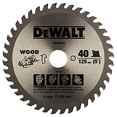 DEWALT DW03540 125mm 40T TCT Circular Saw Blade for cutting MDF,Plywood and Laminated Wood 5