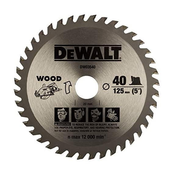 DEWALT DW03540 125mm 40T TCT Circular Saw Blade for cutting MDF,Plywood and Laminated Wood 1