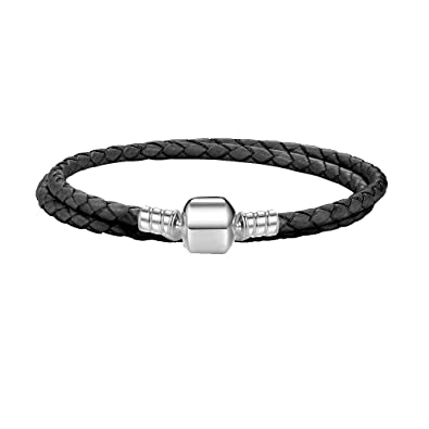 0e3100127 Moments Double Woven Leather Bracelet-Black: Amazon.co.uk: Jewellery