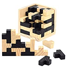 3D Wooden Puzzles-Axier Brain Teaser 54 T-shaped Tetris Blocks Geometric Intellectual Jigsaw Logic Puzzle Educational Toy for Toddlers Kids and Adults