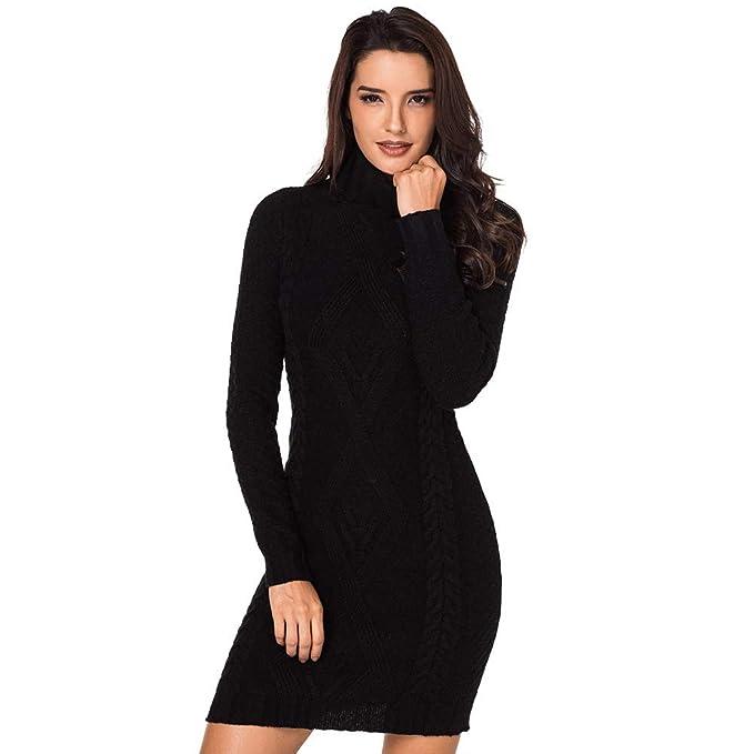 ac4d4e2ae Vestido de Jersey de Punto Ajustado de Corte Medio Largo de Mujer   Amazon.es  Ropa y accesorios