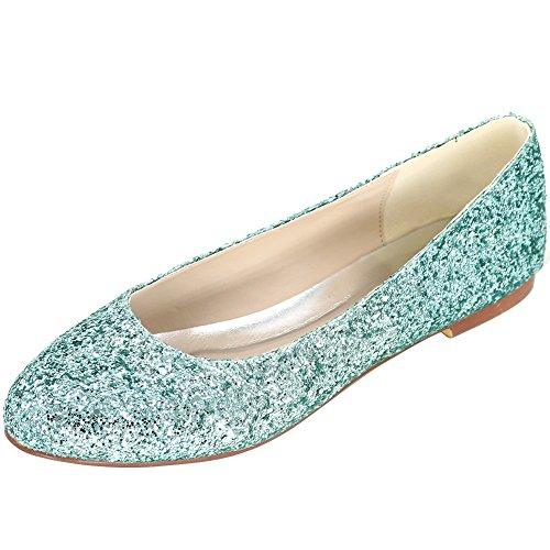Loslandifen Mujeres Sparking Lentejuelas Planas Elegantes Zapatos De Punta Redonda Del Ballet De La Boda Verde / 9872-01a