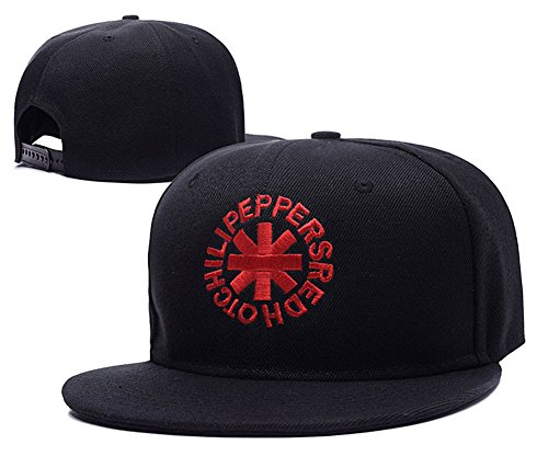 Red Hot Chili Peppers Rock Band Logo Adjustable Snapback Caps Embroidery Hats - Black/Red (Red Hot Chili Peppers Hats)