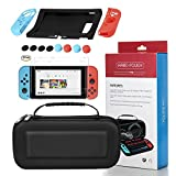 Switch Game Carrying Box Case Nintendo Switch Protective Shell Case Hard Cover Waterproof Carrying Case - Black+11 in 1 silicone protective sleeve+HD anti scratch protective film(2 Pack)