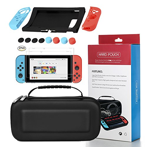 Switch Game Carrying Box Case Nintendo Switch Protective Shell Case Hard Cover Waterproof Carrying Case - Black+11 in 1 silicone protective sleeve+HD anti scratch protective film(2 - Nintendo Sleeves