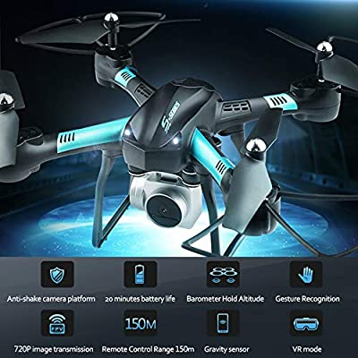 20 Mins Long Flight Time,Dwi Dowellin FPV Drone with Camera 720P HD WiFi Live Video RC Quadcopter with Voice Control, Altitude Hold, Gravity Sensor Function Helicopter for Beginners Adults