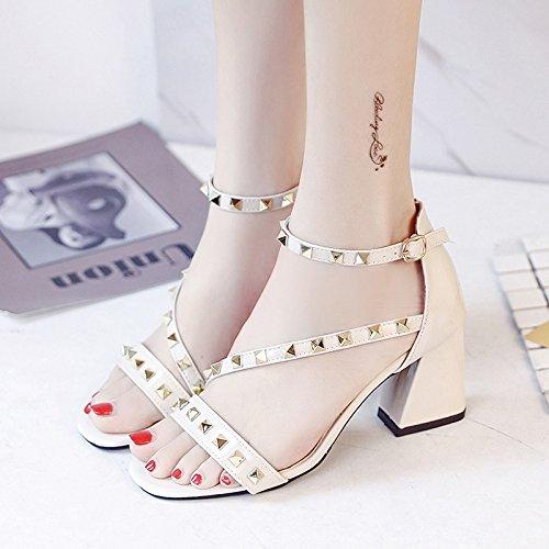 RUGAI-UE Sandalias de Verano Mujer Zapatos Zapatos High-Heeled lado vacío Beige