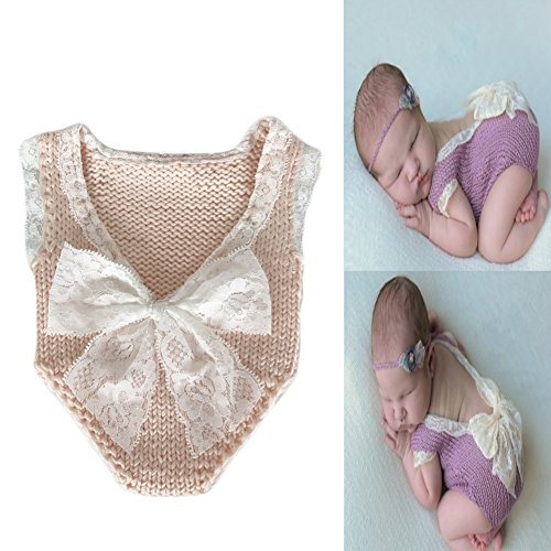 Fashion Infant Baby Girl Lace Romper Photography Props Outfit Lovely Jumpsuit with Bowknot Newborn Photo Props (Snow bud (Girls Snow Bunny Costume)
