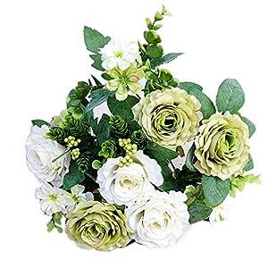 dezirZJjx Artificial Flowers 1Pc Artificial Rose Flower Fake Plant for Garden Party Decor DIY Bridal Bouquet - Green 21