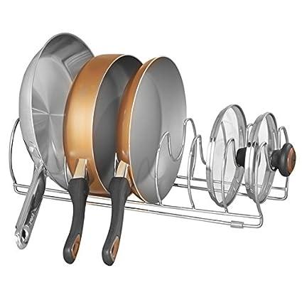 mDesign Organizador de sartenes y tapaderas – Soporte de metal cromado con 6 compartimentos para sartenes