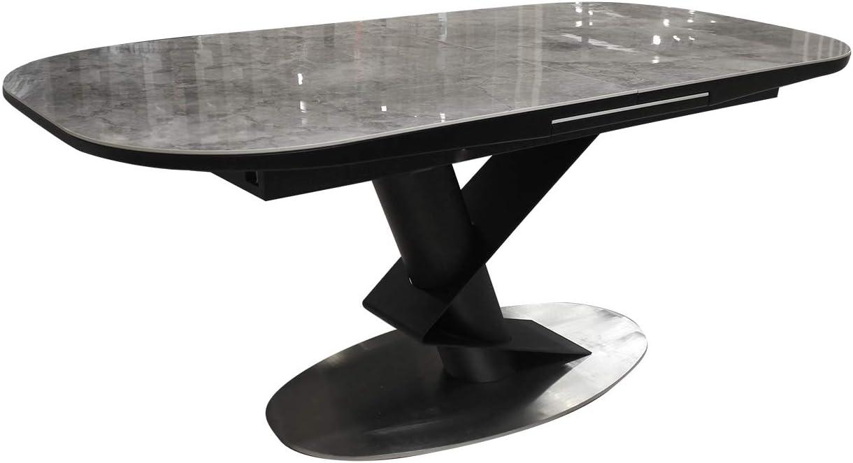 Meubletmoi 180 220cm Rectangular Extendable Dining Table With Ceramic Top Marble Effect Metal Frame Modern Design Imperia Amazon De Küche Haushalt