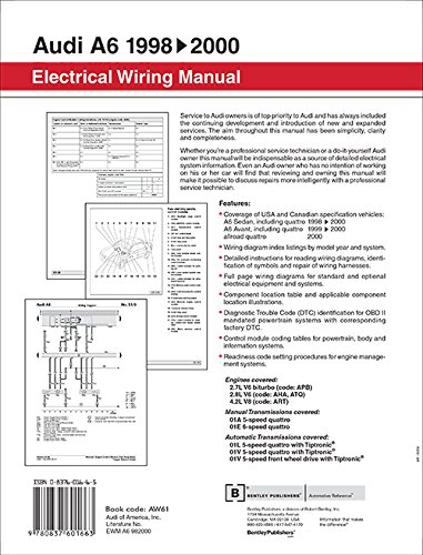 Audi a6 electrical wiring manual a6 sedan 1998 1999 2000 a6 audi a6 electrical wiring manual a6 sedan 1998 1999 2000 a6 avant 1999 2000 allroad quattro 2000 bentley publishers 9780837601663 amazon fandeluxe Choice Image
