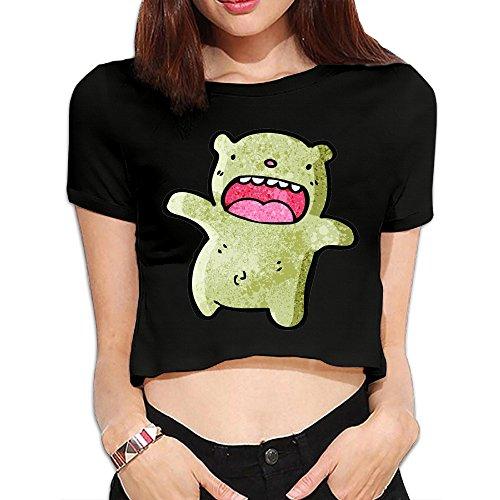 GuquxinG Big Mouth Bear Women's Fashion Midriff T-Shirt S (Build A Bear Outfits Cheap)