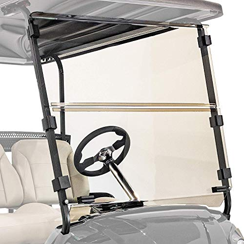 Buggies Unlimited EZGO TXT Freedom, Valor (2014-up) Clear Folding Golf Cart Windshield with Quick Disconnect Mounting System